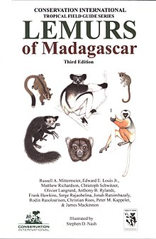 Book cover with color illustrations of an indri, diademed sifaka, greater bamboo lemur (face only), mouse lemur, fork-marked lemur, and an aye-aye