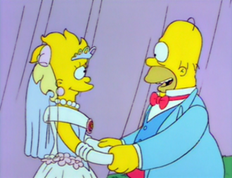 Lisa's Wedding - Homer talks to Lisa on the morning of her wedding. For the episode, many characters were given special aged designs. In Homer's case, he was made larger with some extra lines on his face and less hair.