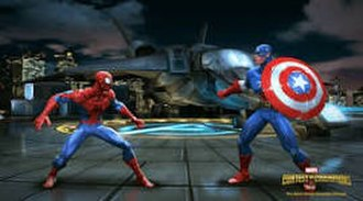 Marvel: Contest of Champions - A gameplay screenshot shows Spider-Man (left) fighting Captain America (right) in the arena.
