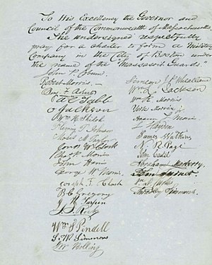 """Massasoit Guards - Petition to the Massachusetts legislature to form a military company called the """"Massasoit Guards."""" Signed by John P. Coburn, Robert Morris, John S. Rock, Lewis Hayden, and others."""
