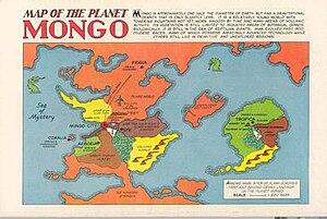 Mongo (fictional planet) - Image: Mongo map from Flash Gordon