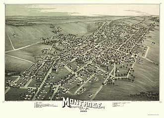 Montrose, Pennsylvania - Montrose, Pennsylvania, as depicted on an 1890 panoramic map.