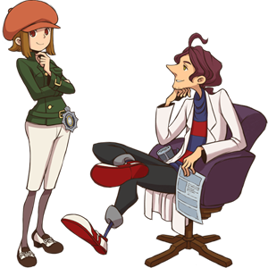 Layton Brothers: Mystery Room - The main protagonists of Layton Brothers: Mystery Room. Lucy Baker is on the left, Alfendi Layton on the right.