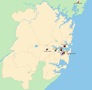 1908 NSWRFL season - The geographical locations of the foundation teams across Sydney.