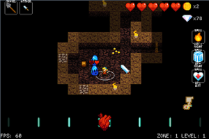 Crypt of the NecroDancer - Crypt of the NecroDancer screenshot of the 0.244alpha version showing Cadence, a playable character (middle) next to two blue slimes (left), a titanium broadsword (right) as well as some dropped gold coins.