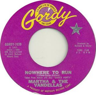 Nowhere to Run (song) - Image: Nowhere to Run by Martha and the Vandellas US 1965 vinyl