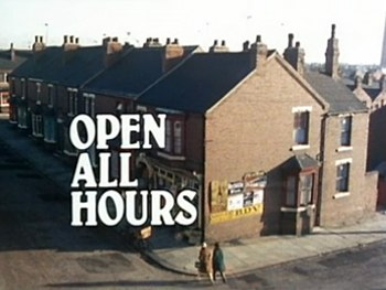 1976 title card. The series title appears over an aerial shot of the corner shop.