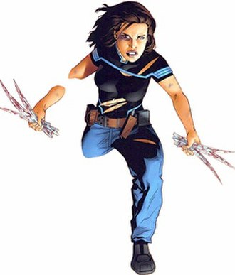 "Alternative versions of Kitty Pryde - Cat, after ""declawing"" an alternative James Howlett. Art by Michael Golden."