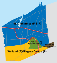 Federal and provincial ridings representing St. Catharines