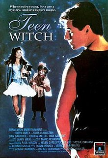 A teenage girl with textbooks, a gypsy-looking witch, and a male wearing black tank top.