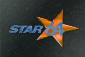 WSTR-TV - Star 64 station identification in 1995. WSTR used variations of this logo from 1990 to 1998. A star design returned to WSTR's logo in 2009.