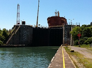 Welland Canal - A ship in Lock 3 of the Welland Canal in St. Catharines, just south of the Homer Lift Bridge and Garden City Skyway