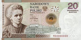 20 złotych note - 100th anniversary of the awarding of the Nobel Prize winner Marie Skłodowska-Curie.