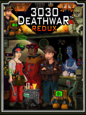 3030 Deathwar - The Box Art for 3030 Deathwar Redux, with the main character John Falcon standing off-center to the right
