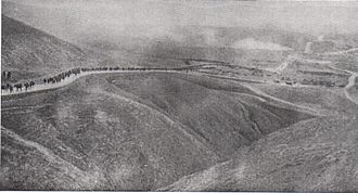 First Transjordan attack on Amman - Infantry in the 60th (London) Division marching from Jerusalem to the Jordan Valley March 1918