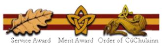 Order of CúChulainn - The Order of Cúchulainn pin on Award Ribbon along with Service and Meritorious pins