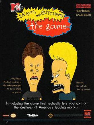 MTV's Beavis and Butt-Head - Print advertisement, covering the Super NES, Genesis and Game Gear versions.