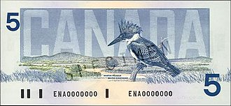 Birds of Canada (banknotes) - The obverse and reverse of the Birds of Canada $5 banknote.