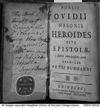 Heroides - Front matter of Boswell's copy of the 1732 edition of the Heroides, edited by Peter Burmann. Note the title Heroides sive Epistolae, The Heroides or the Letters.