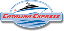 Logo of Catalina Express. Shows a stylized, cartoon ferry, on an oval background.