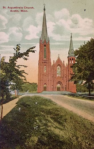 St. Augustine's Church (Austin, Minnesota) - Exterior of St. Augustine's Church in 1911