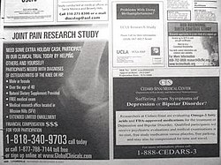 Newspaper advertisements seeking patients and healthy volunteers to participate in clinical trials.