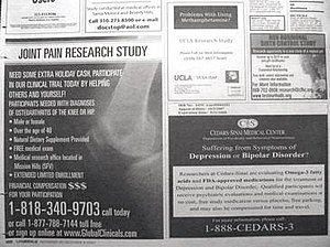 Clinical trial - Newspaper advertisements seeking patients and healthy volunteers to participate in clinical trials