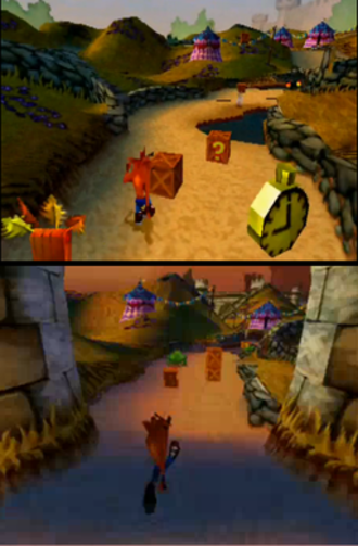 Crash Bandicoot: Warped - An example of gameplay in the medieval levels of Crash Bandicoot: Warped. The earlier levels are set in the daytime (top), while later levels are set in the evening (bottom).