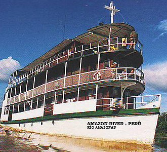 River cruise - River cruise ship in the Amazon river, Peru