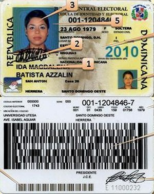 Cédula de Identidad y Electoral - Design of the Dominican national ID card from 1998 to 2013.
