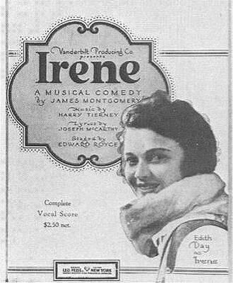 Irene (musical) - Sheet music cover showing Edith Day