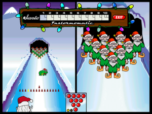 Elf Bowling - Elf Bowling with elf pins and Christmas frog hopping on the icy lane.