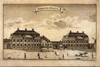 Fødselsstiftelsen - Frederiks Hospital, early seat of Fødsels- og Plejestiftelsen, likely in 1752 or shortly thereafter.
