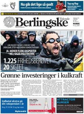 Berlingske - Front page 14 December 2009