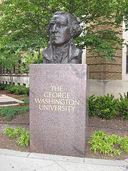 A bust of George Washington on The Foggy Bottom campus of the George Washington University