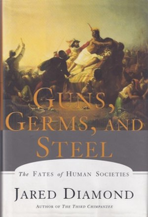 Guns, Germs, and Steel - Cover of the first edition, featuring the painting Pizarro seizing the Inca of Peru by John Everett Millais
