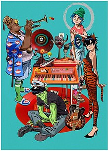 The virtual Gorillaz band members, from left to right, Russel Hobbs, Murdoc Niccals, 2-D, and Noodle