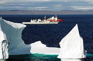 Operation Nanook - HMCS Toronto, CCGS Pierre Radisson, and an iceberg in Frobisher Bay during Operation Nanook 2008