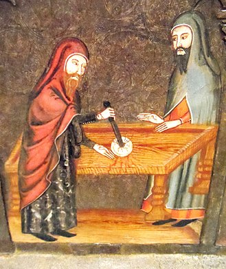 Host desecration - Medieval painting of host desecration by Jews, from the Museu Nacional d'Art de Catalunya.