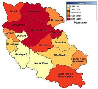 Ribeirão Preto - Political division map of the micro-region of Ribeirão Preto, with population ranges expressed in color