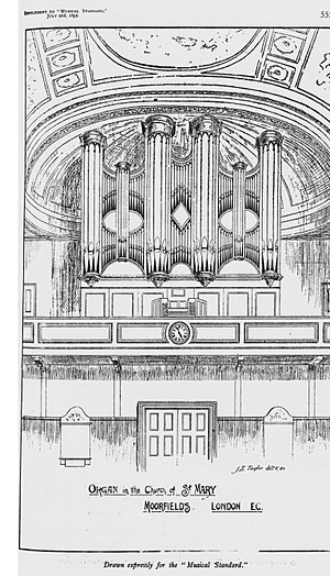St Mary Moorfields - The organ in St Mary Moorfields, drawn by J.B.Taylor (1860-1944) and published in the Musical Standard on 2 July 1892