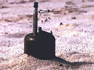 OZM - Armed OZM 4 anti-personnel mine in a minefield