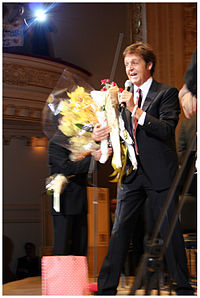 McCartney gives a speech at the US premier of Ecce Cor Meum at Carnegie Hall..