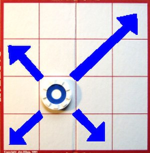 Plateau (game) - Blue topped pieces move diagonally