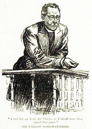 Sir William Gordon-Cumming, 4th Baronet - Gordon-Cumming filing evidence