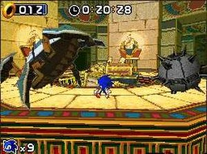 Sonic Rush - Sonic fights one of the game's bosses, the Egg Scarab. Boss battles are rendered in 3D.