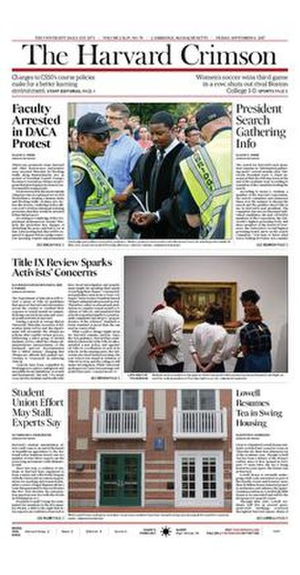 The Harvard Crimson - Image: The Harvard Crimson Front Page