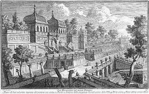 Farnese Gardens - 1761 engraving by architect Giuseppe Vasi from book 10 of his series of vedute (views) of Rome, showing the Farnese Gardens on Palatine Hill in Rome at that time. The ground floor entrance is at right, and the twin domes are above the aviaries on the third floor of the structure.