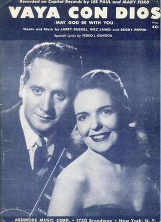 Vaya con Dios (song) - 1953 sheet music cover for the Les Paul and Mary Ford recording, Ardmore Music. New York.