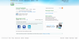 Screenshot of Windows Live Home